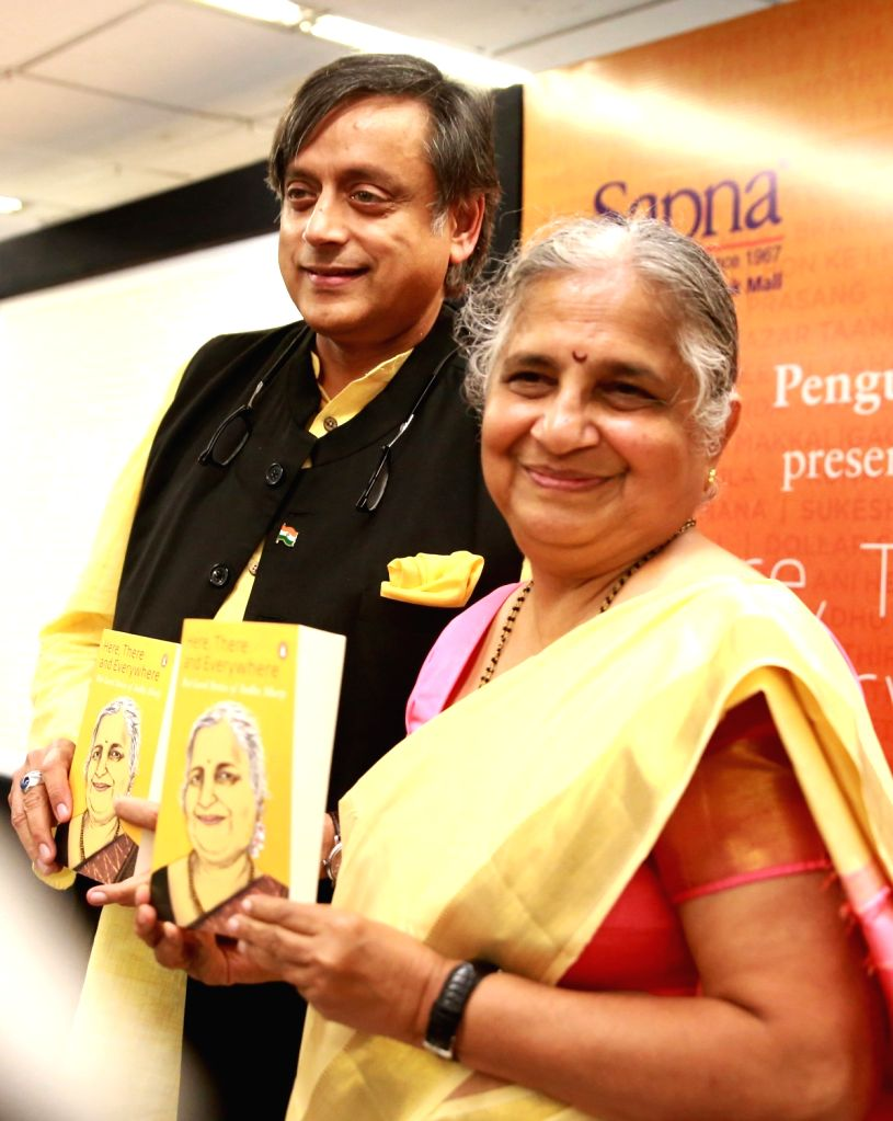 "Infosys Foundation Chairperson Sudha Murthy and Congress leader Shashi Tharoor at the launch of the book ""Here, There and Everywhere""  in Bengaluru, on May 25, 2018. - Shashi Tharoor"