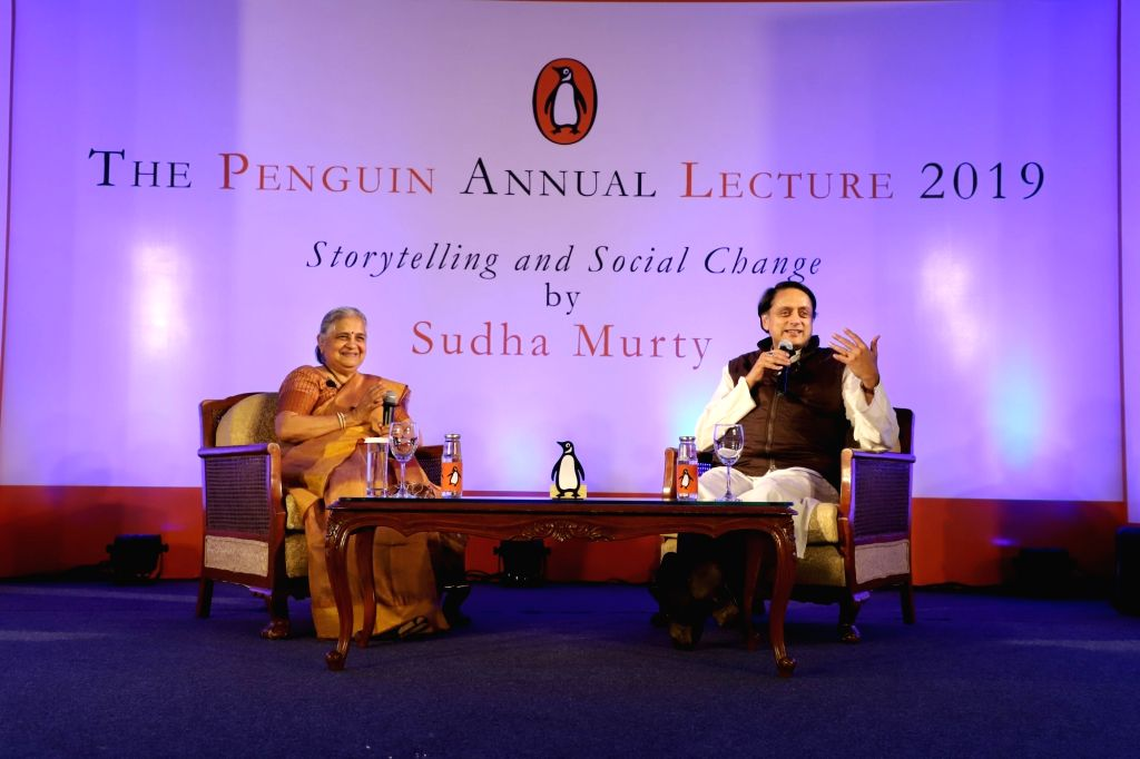 "Infosys Foundation Chairperson Sudha Murthy and Lok Sabha member Shashi Tharoor interact with the audience at Penguin Annual Lecture 2019 on 'Storytelling and Social Change"" in New ... - Shashi Tharoor"