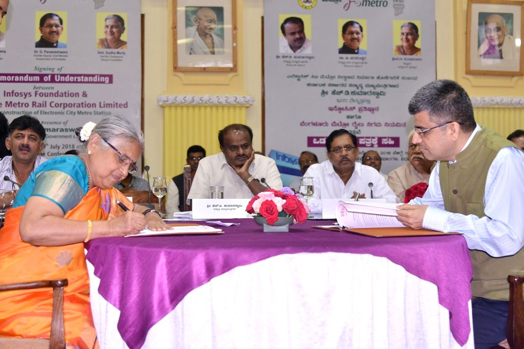 Infosys Foundation Chairperson Sudha Murthy, BMRCL MD Ajay Seth with Karnataka Chief Minister H D Kumarswamy during MoU signing bewteen BMRCL and Infosys Foundation at Vidhana Soudha, in ... - H D Kumarswamy and Ajay Seth