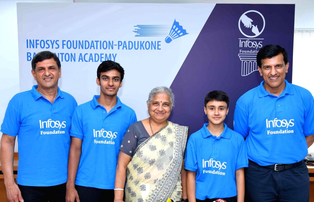 Infosys Foundation Chairperson Sudha Murthy with Former shuttler Prakash Padukone during the signing of an MoU between Infosys Foundation and Padukone Badminton Academy, in Bengaluru on ... - Prakash Padukone