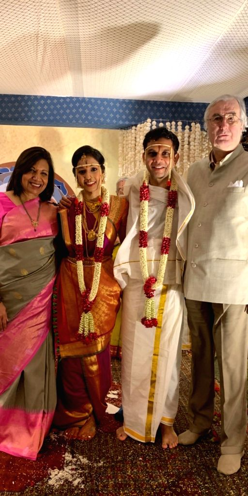 Infosys' independent director Kiran Mazumdar-Shaw (left) with Aparna and Rohan Murty at their wedding ceremony in Bengaluru. - Kiran Mazumdar-Shaw