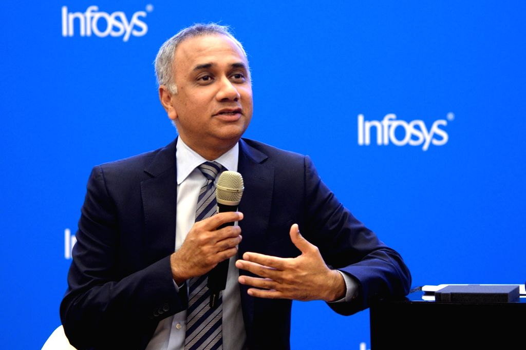 Infosys Managing Director and Chief Executive Officer Salil Parekh addresses a press conference organised to announce results of the first quarter of fiscal 2018-19, in Bengaluru, on July ...