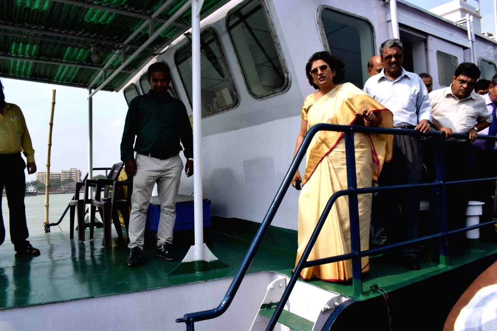 Inland Waterways Authority of India (IWAI) Chairperson Nutan Guha Biswas during a programme organised to flag off two Survey cum Inspection Vessels of IWAI – SL Ganga and SL Jhanvi at ...
