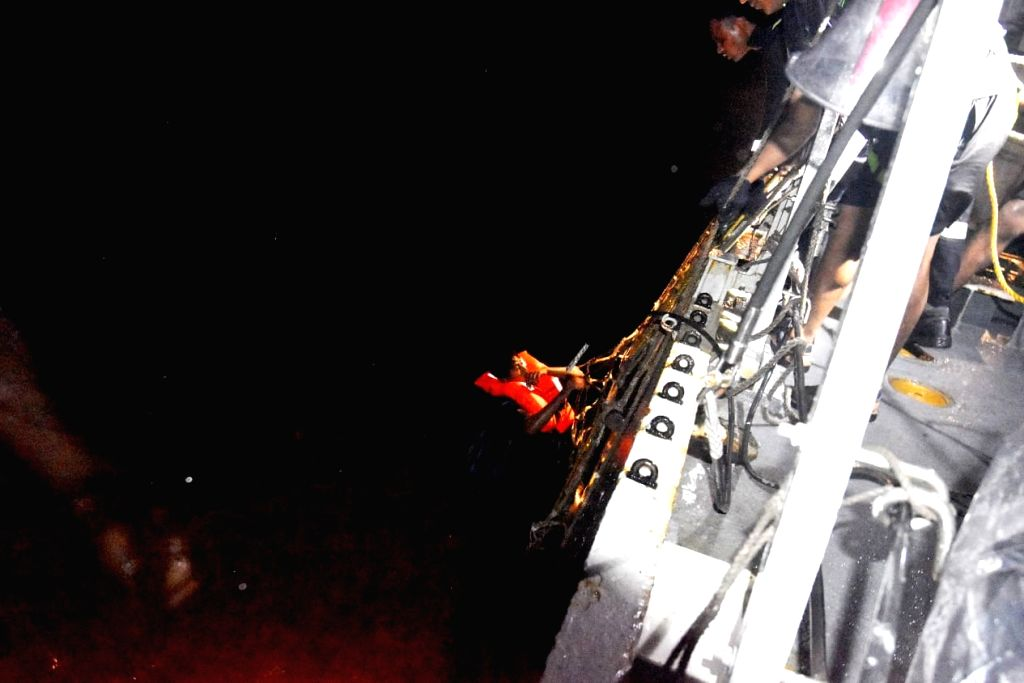 INS Kolkata rescued two survivors from the life-raft of vessel Vara Prabha late Monday, as it proceeded to the Bombay High Fields for rescuing more people in the aftermath of Cyclone Tauktae.