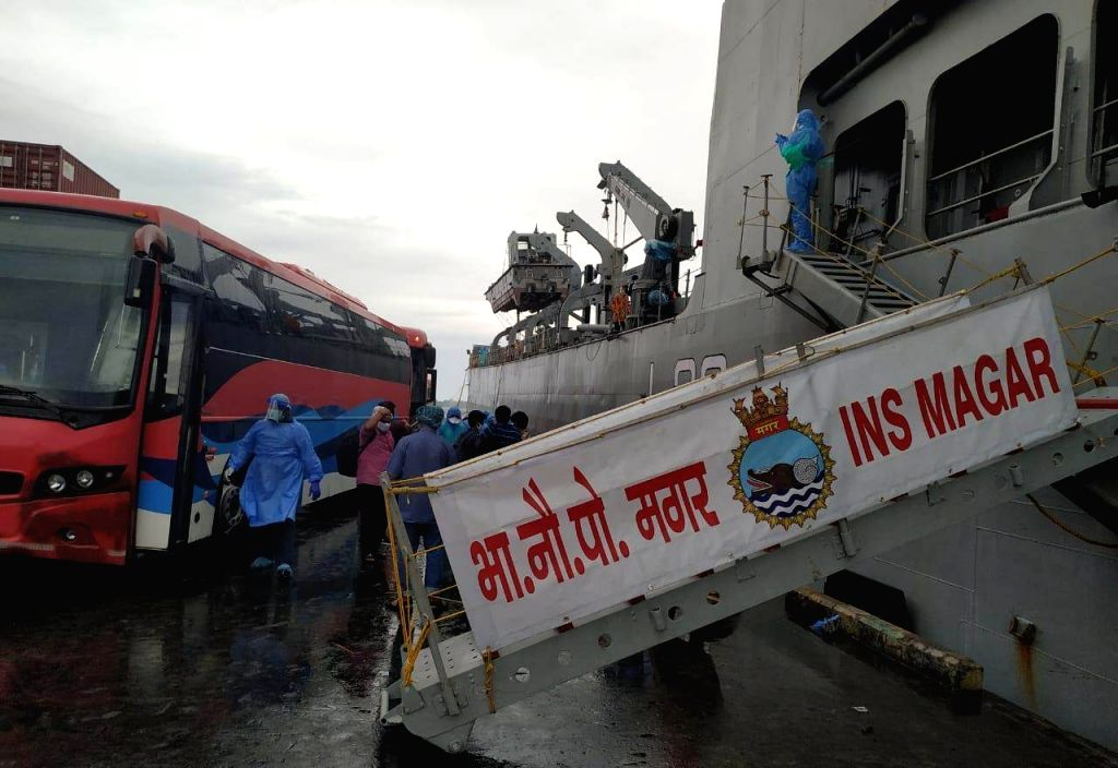 INS Magar reaches Maldives to evacuate Indian citizens.