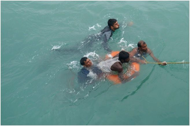 INS Sumitra rescues Bangladeshi nationals washed off by cyclone Mora from Bay of Bengal, off Chittagong.