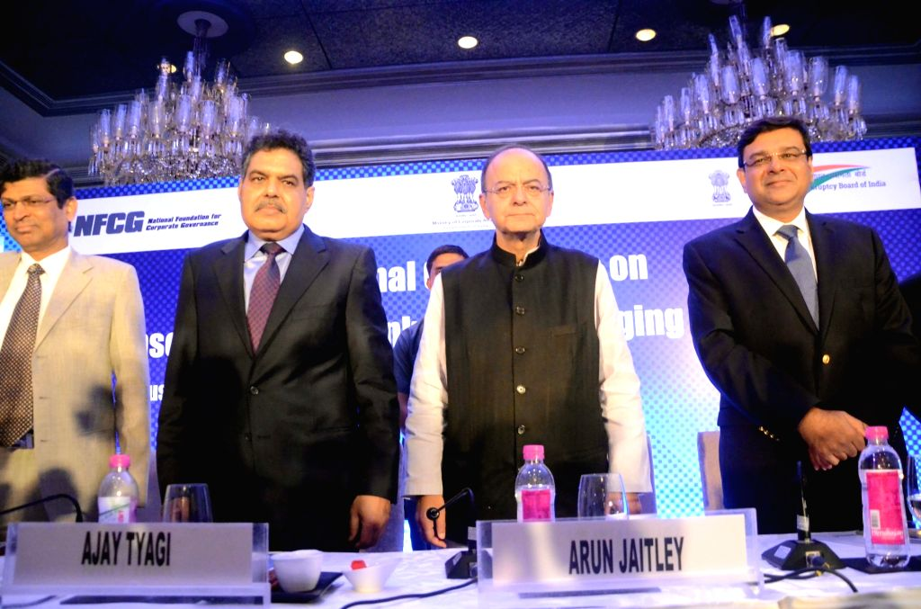 Insolvency and Bankruptcy Board of India chairman M. S. Sahoo, Securities and Exchange Board of India (Sebi) chairman Ajay Tyagi, Finance Minister Arun Jaitley and Reserve Bank of India ... - Arun Jaitley and Urjit R Patel