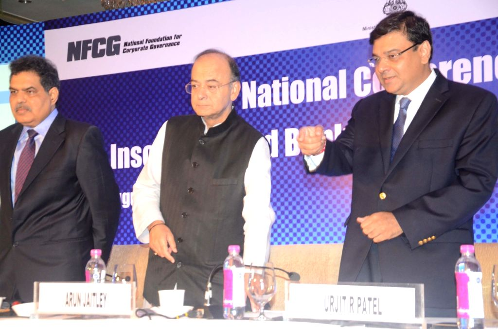 """Insolvency and Bankruptcy Board of India chairman Ajay Tyagi, Finance Minister Arun Jaitley and Reserve Bank of India Governor Urjit Patel during the """"National Conference on Insolvency ... - Arun Jaitley and Urjit Patel"""