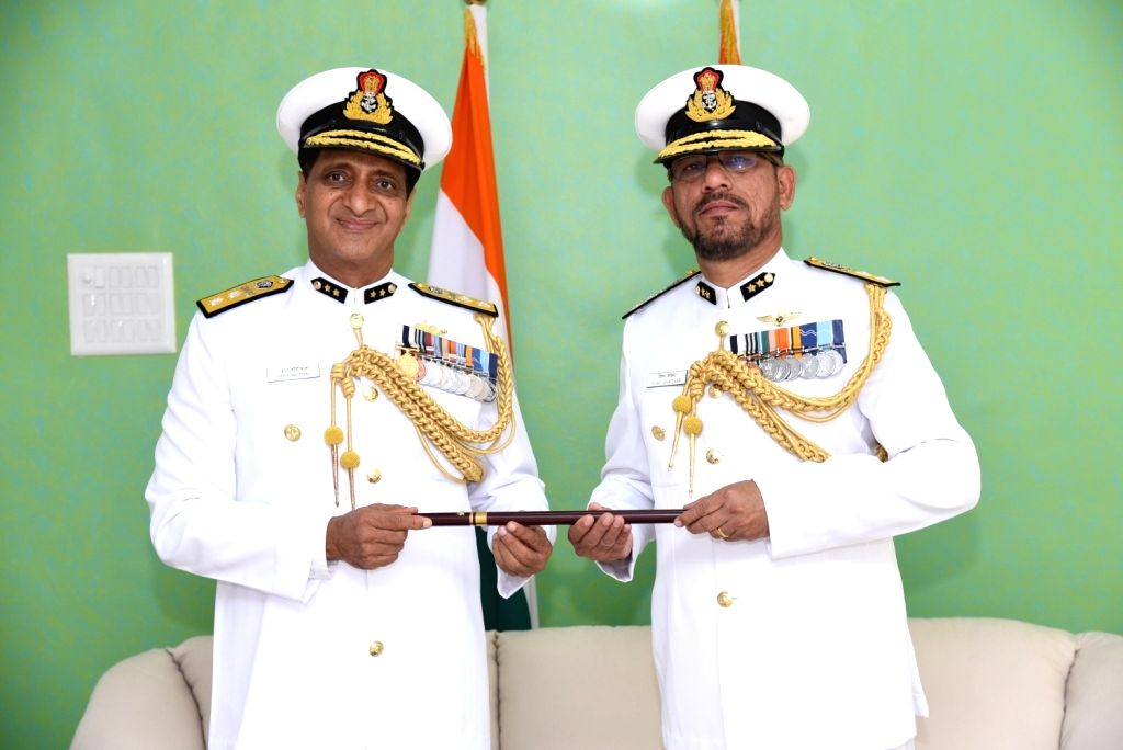 Inspector-General (IG) Vijay Chafekar who took over as the new Flag Officer, Indian Coast Guard (West Region) from the incumbent IG K. R. Nautiyal, in Mumbai on April 11, 2018.