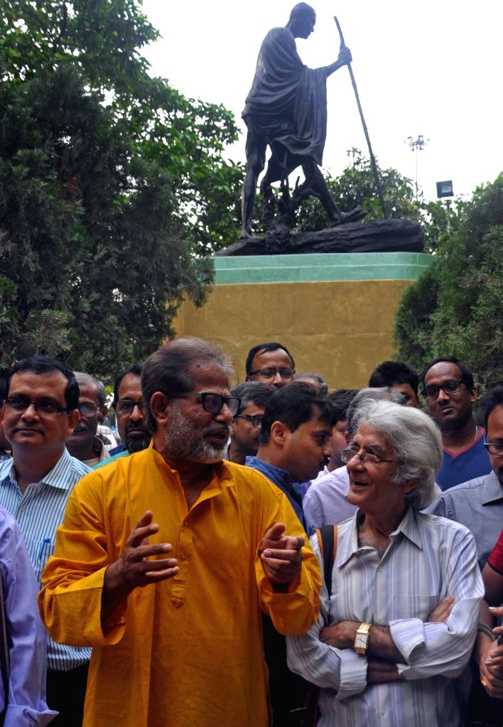 Intellectuals demonstrate against BJP in Kolkata on April 16, 2017.