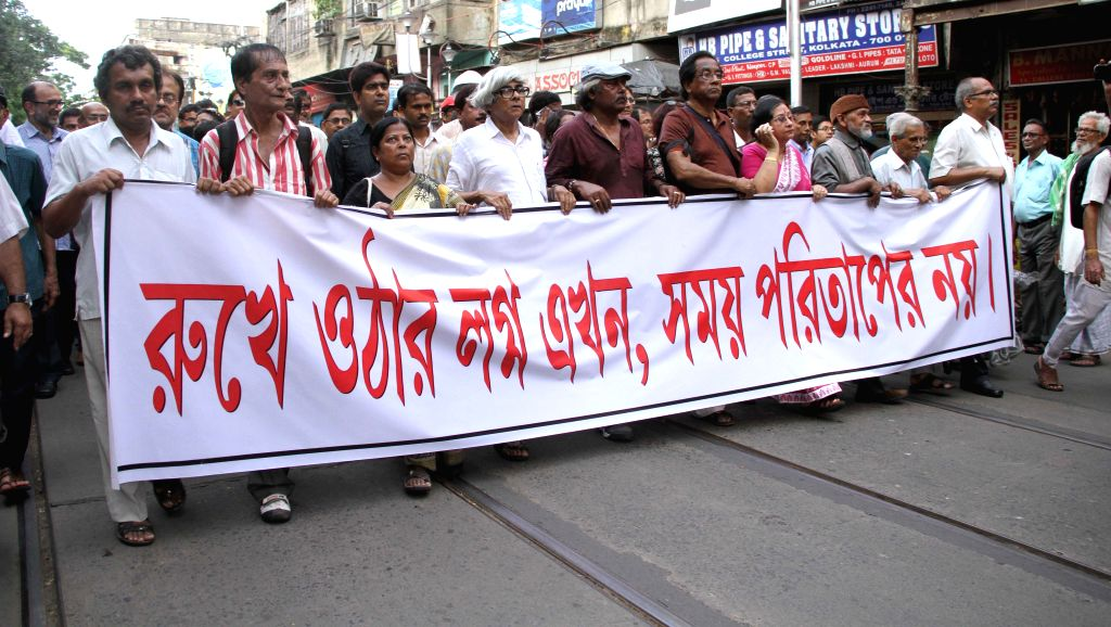 Intellectuals participate in demonstration against West Bengal Chief Minister Mamata Banerjee in Kolkata, on Aug 14, 2015. - Mamata Banerjee