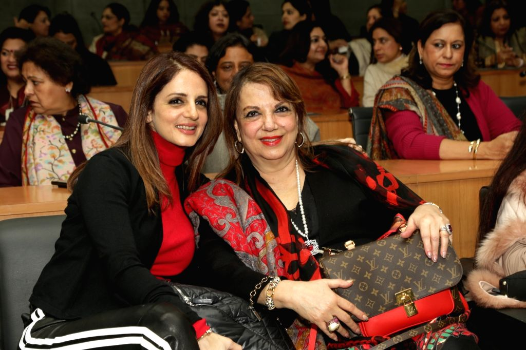 """Interior designer and entrepreneur Sussanne Khan during an interactive session om """"Successful Mothers & Daughters in the Business of Luxury"""" in New Delhi on Feb 1, 2019. - Sussanne Khan"""
