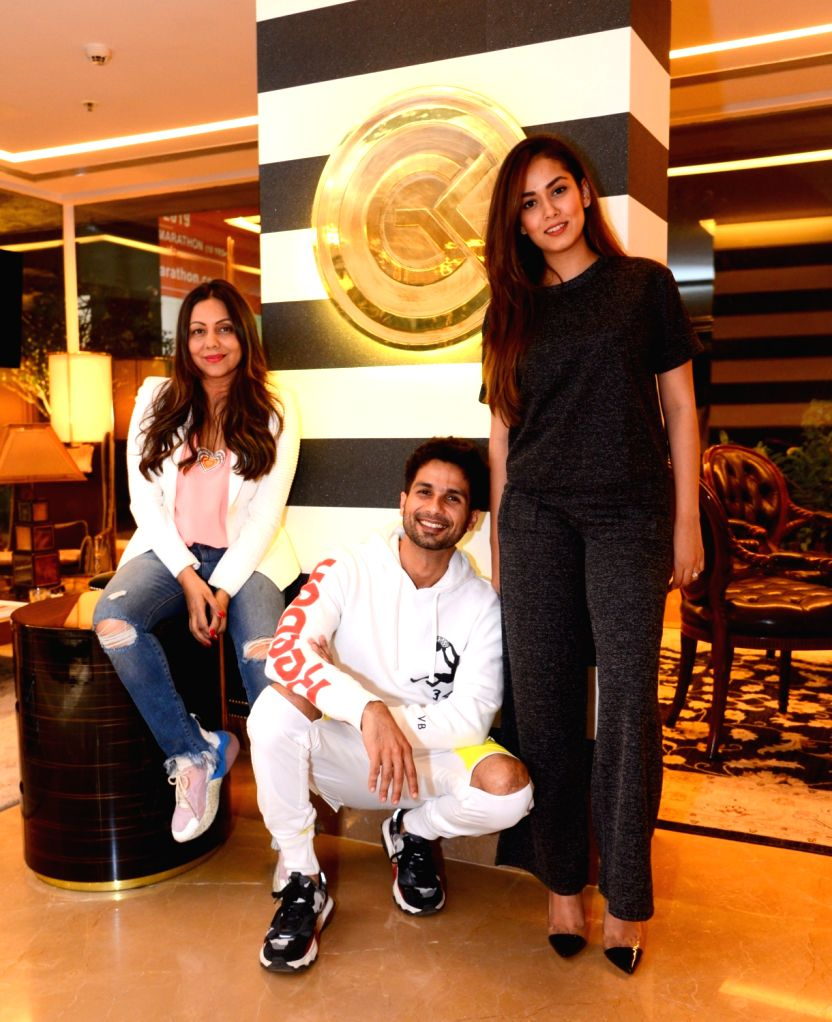 Interior designer Gauri Khan with actor Shahid Kapoor and his wife Mira Rajput at her store in Mumbai, on Feb 2, 2019. - Shahid Kapoor and Khan