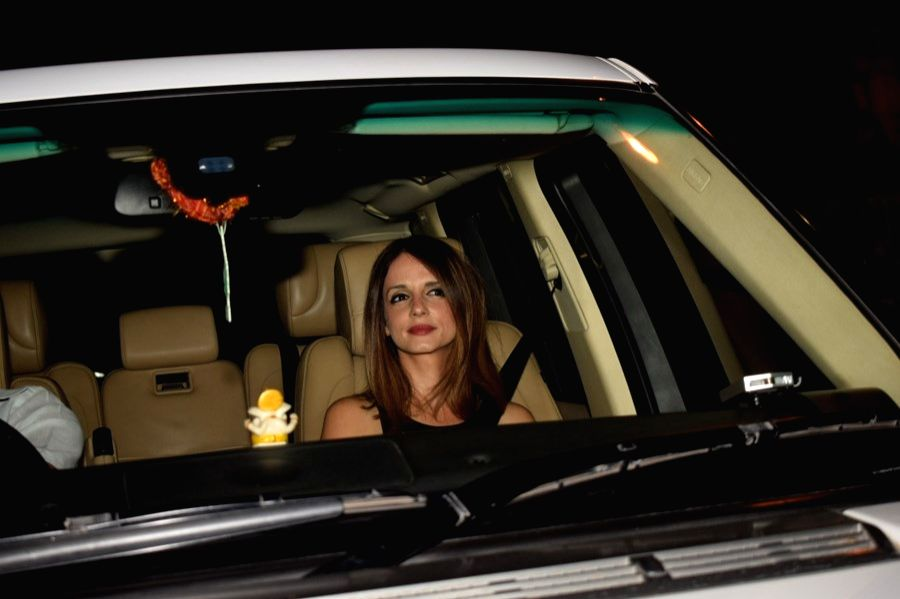 Interior designer Sussanne Khan at the filmmaker Karan Johar's valentine party in Mumbai on Feb 14, 2018. - Sussanne Khan