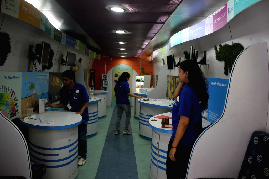 Interior view of the Science Express - Climate Change Special at Safdarjan Railway Station in New Delhi, on Oct 15, 2015.