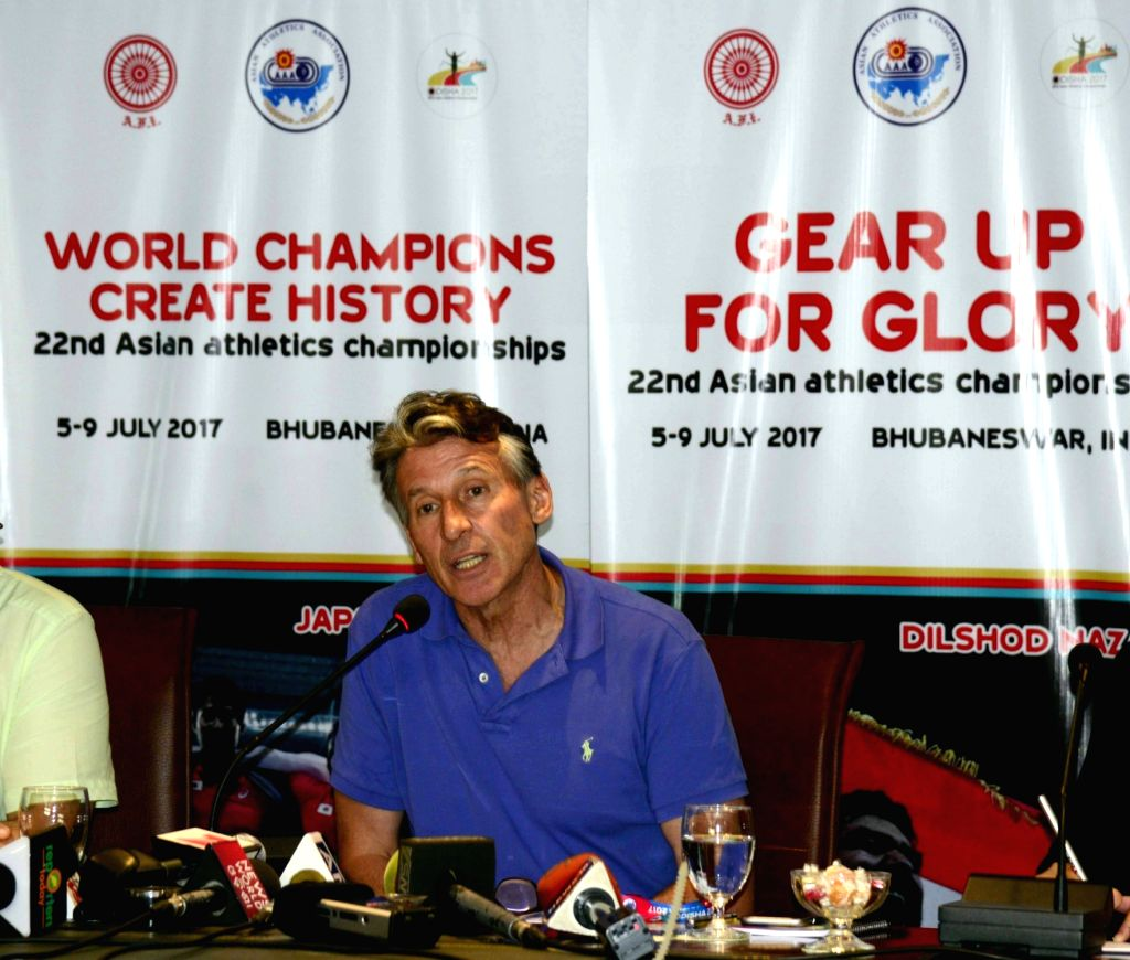 International Association of Athletics Federations (IAAF) president Sebastian Coe addresses a press conference in Bhubaneswar on July 4, 2017.