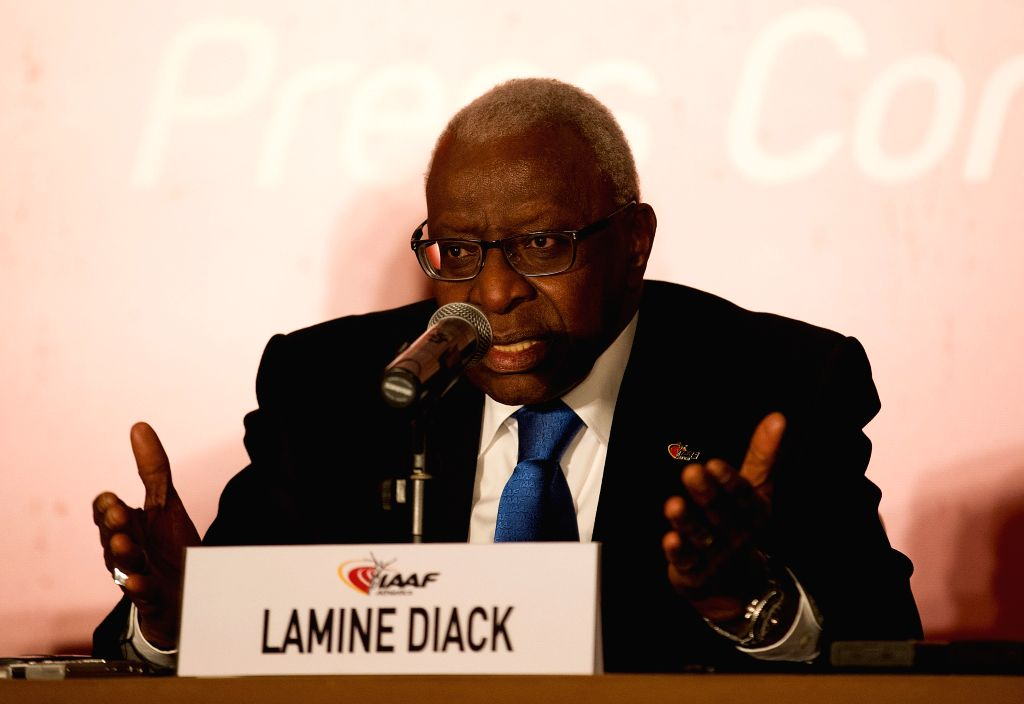 :International Association of Athletics Federations (IAAF) President Lamine Diack answers to the media at the press conference of the 198th IAAF Council Meeting ...