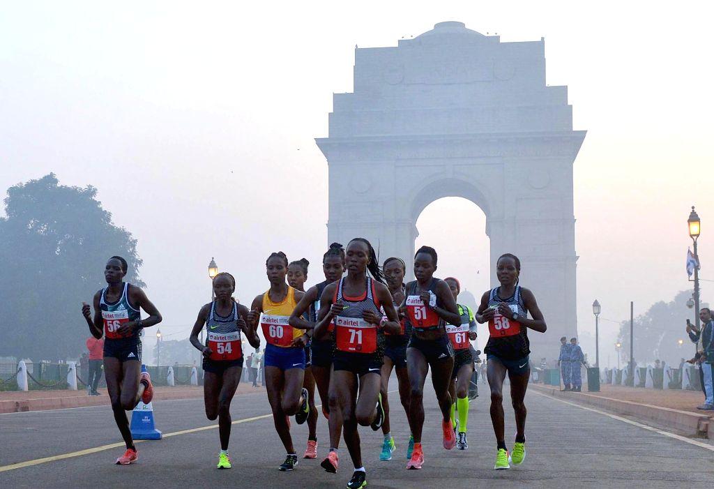 International athletes participate in Airtel Delhi Half Marathon 2016 at Jawaharlal Nehru Stadium in New Delhi, on Nov 20, 2016.
