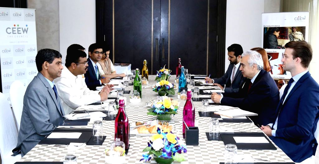 International Energy Agency Executive Director Fatih Birol during a meeting with Union Petroleum and Natural Gas Minister Dharmendra Pradhan on the sidelines of Energy Horizon 2019, in New ... - Dharmendra Pradhan