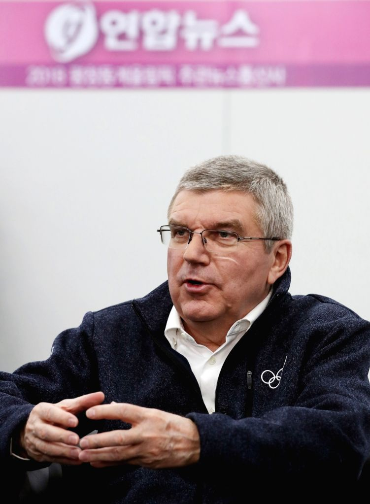 International Olympic Committee (IOC) President Thomas Bach holds an interview with Yonhap News Agency at the PyeongChang Winter Olympics' Main Press Centre in PyeongChang on Feb. 12, ...