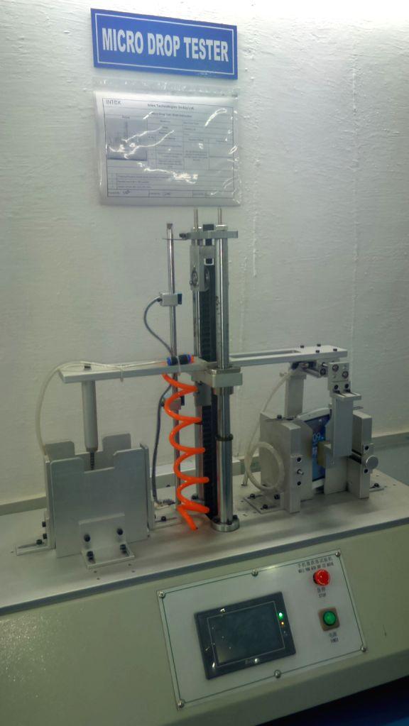 Intex technologies using a robotic micro drop tester on its smartphone.