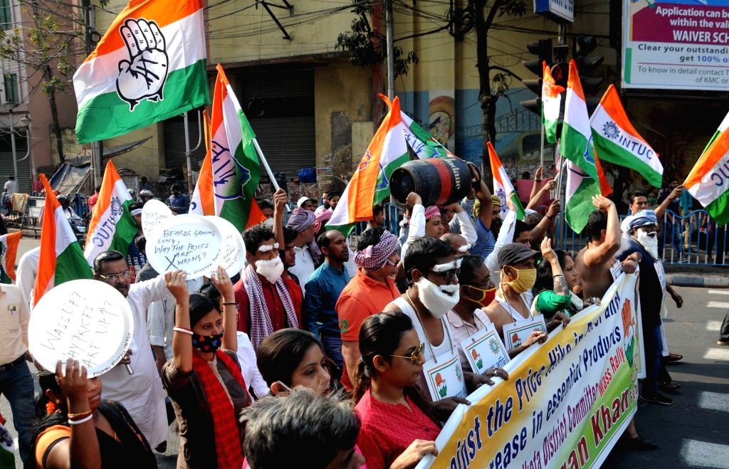 INTUC activists took part in a protest rally against fuel and essential products price hike in Kolkata on Tuesday 23rd February, 2021.