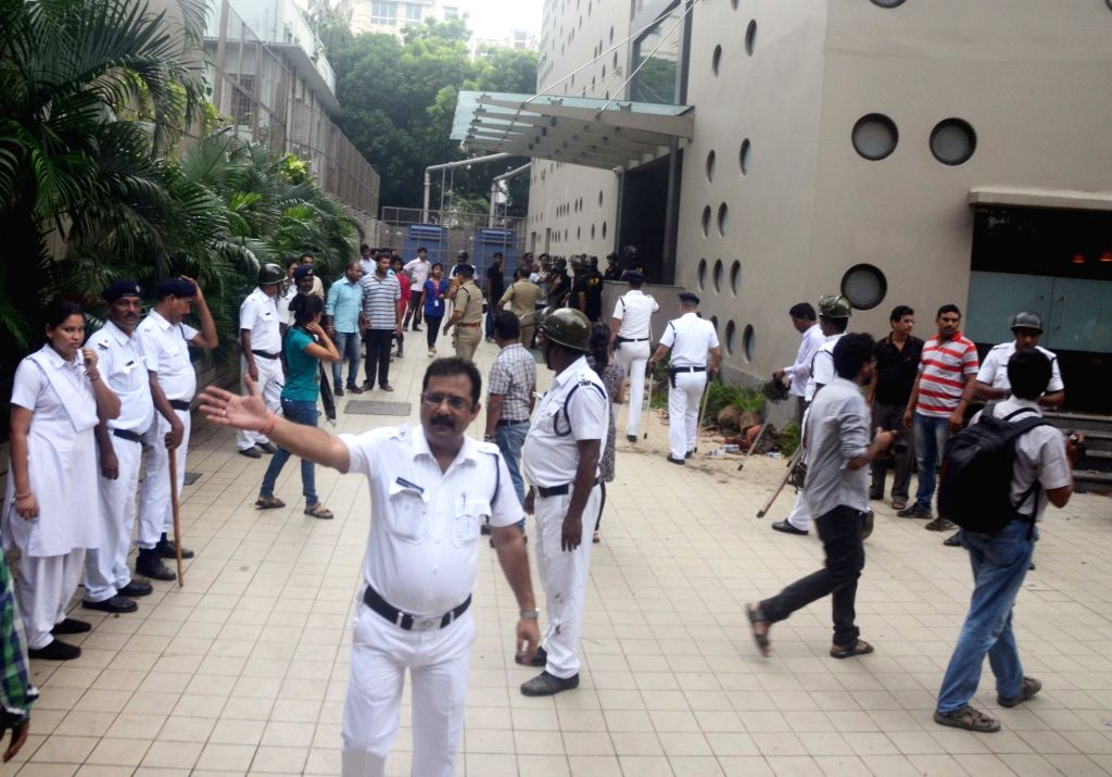 Investors vandalize Rose Valley hotel over the Rose Valley chit fund scam in Kolkata on Aug 3, 2017.