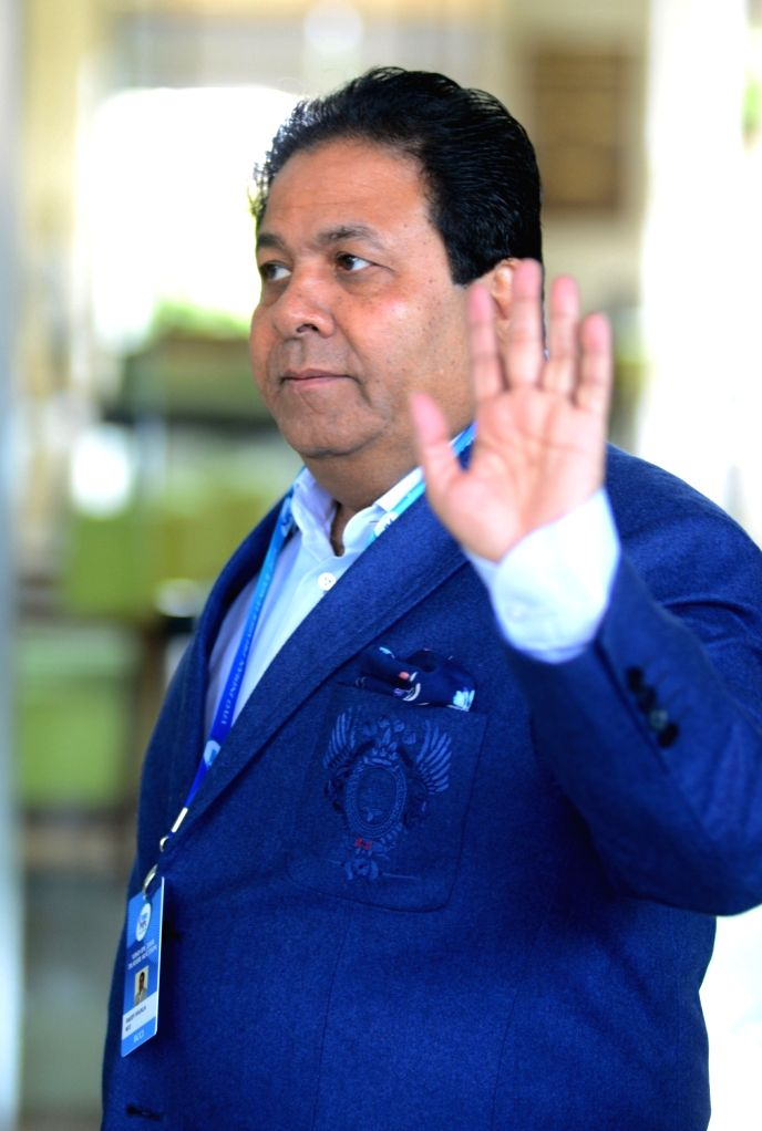 IPL chairman Rajeev Shukla arrives to attend Indian Premier League (IPL) Players' Auction in Bengaluru on Jan 28, 2018.