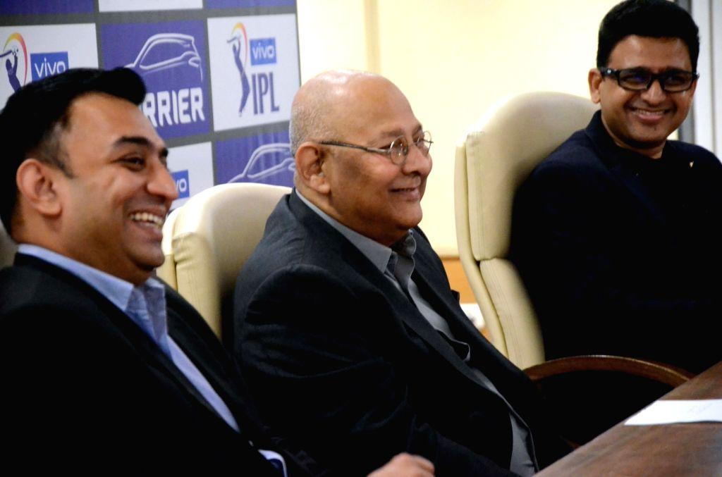 IPL COO Hemang Amin, BCCI Secretary Amitabh Choudhary and Tata Motors Head Marketing (Passenger Vehicles Business Unit) Vivek Srivatsa during a press conference at BCCI Centre in Mumbai on ... - Amitabh Choudhary