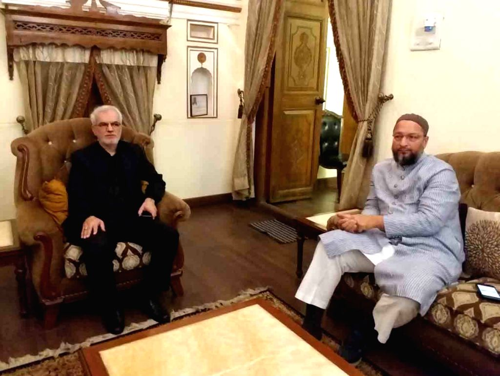 Iran Consul-General to India Mohammad Haghbin Ghomi meets All India Majlis-e-Ittehad-ul Muslimeen (AIMIM) President Asaduddin Owaisi in Hyderabad, on Feb 9, 2019.