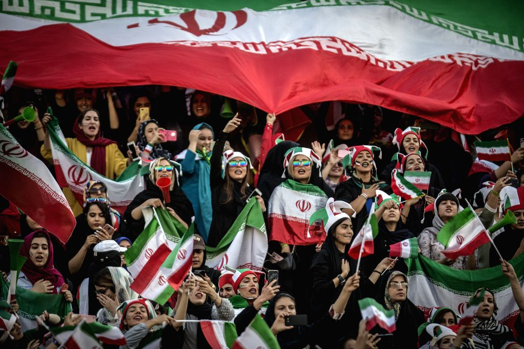 IRAN, Oct. 11, 2019 - Supporters of Iran cheer during the FIFA World Cup Qatar 2022 Qualification match between Iran and Cambodia at Azadi Stadium in Tehran, Iran, Oct. 10, 2019. Iran won the match ...