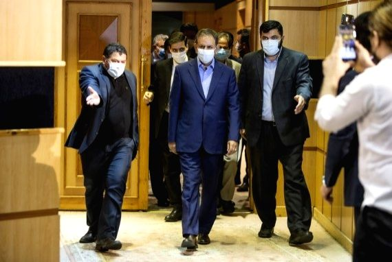 Iran's First Vice President Eshaq Jahangiri (C) arrives at a press conference after registration his candidacy for presidential race at the Interior Ministry in Tehran, Iran, May 15, 2021.