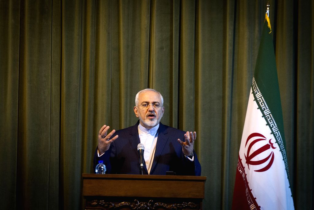 Iran's Foreign Minister Mohammad-Javad Zarif and his German counterpart Frank-Walter Steinmeier (not in the picture) attend a joint press conference in Tehran, Iran, ... - Mohammad-Javad Zarif