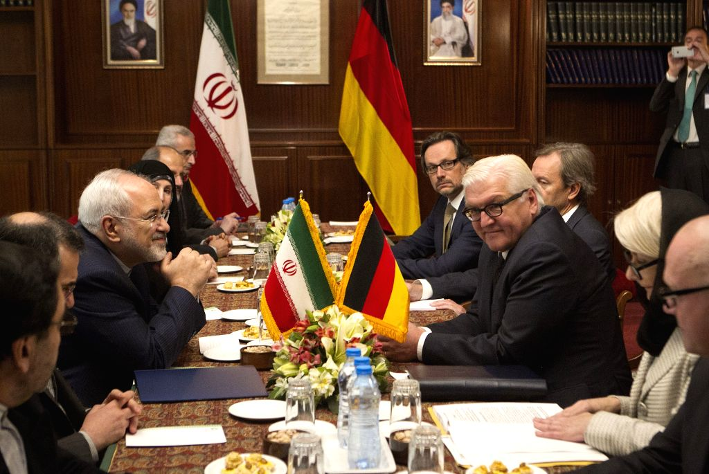 Iran's Foreign Minister Mohammad-Javad Zarif (L) meets with his German counterpart Frank-Walter Steinmeier in Tehran, Iran, on Oct. 17, 2015. Iran's Foreign Minister ... - Mohammad-Javad Zarif