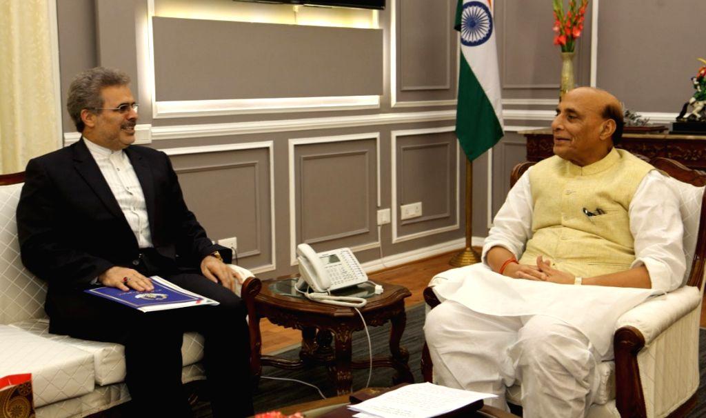 Iranian Ambassador to India Ali Chegeni calls on Defence Minister Rajnath Singh in New Delhi on Sep 12, 2019. - Rajnath Singh