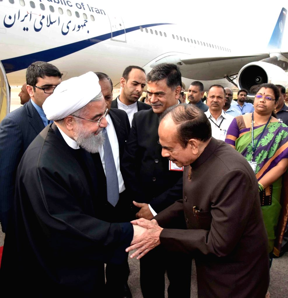 Iranian President Hassan Rouhani arrives at Begumpet Airport in Hyderabad on Feb 15, 2018. - Hassan Rouhani