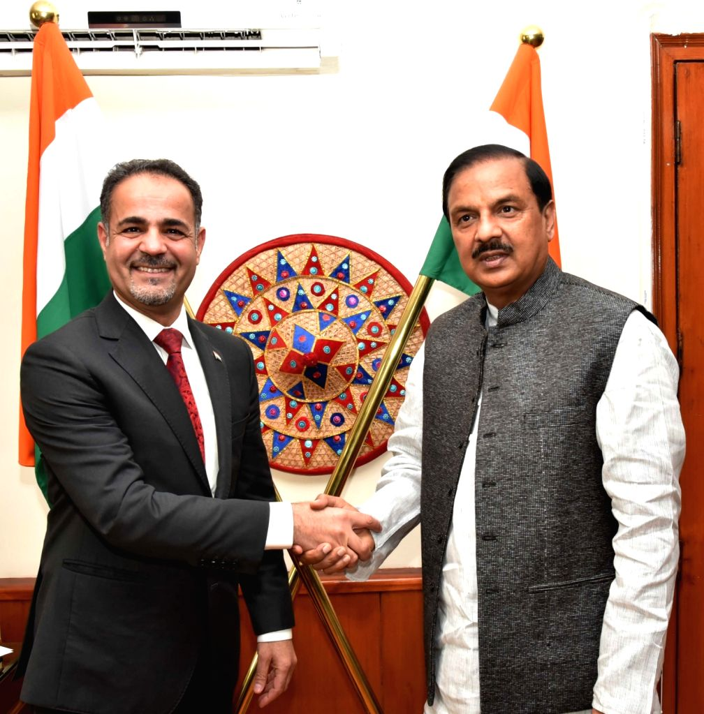 Iraq Ambassador to India Falah Abdulhasan Abdulsada meets Union MoS Culture and Environment, Forest and Climate Change Mahesh Sharma, in New Delhi, on Feb 13, 2019. - Change Mahesh Sharma