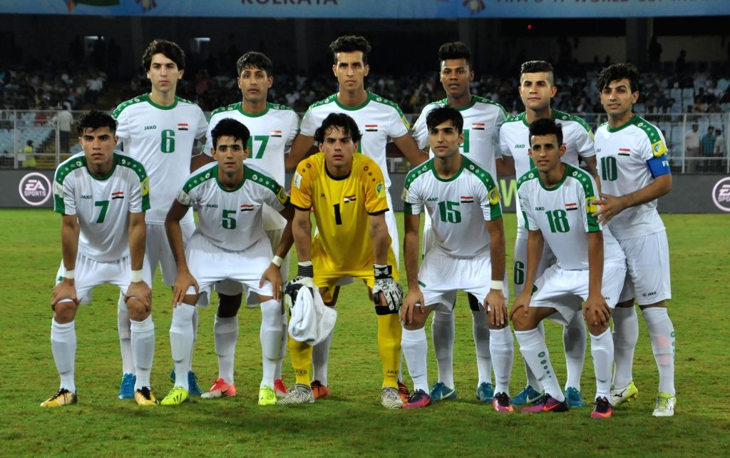 Iraqi players ahead of a FIFA U-17 World Cup India 2017 Group F match against Chile at Salt Lake Stadium in Kolkata on Oct 11, 2017.