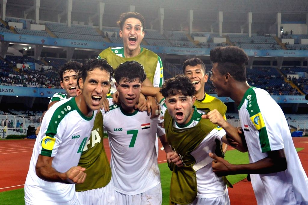 Iraqi players celebrates after scoring a goal during ​a FIFA U17 World Cup India 2017 Group F match between Iraq and Chile at Salt Lake Stadium in Kolkata on Oct 11, 2017.