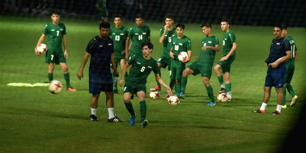 Iraqi players during a practice session ahead of U17 World Cup in Kolkata on Oct 3, 2017.