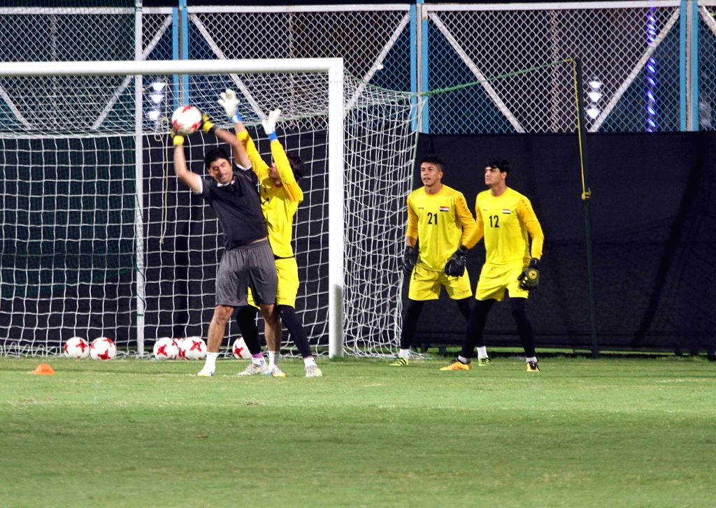 Iraqi players during a practice session at Salt Lake Stadium in Kolkata, on Oct 10, 2017. Iraq is set to play against Chile in FIFA U-17 World Cup Group F match on 11th Oct.