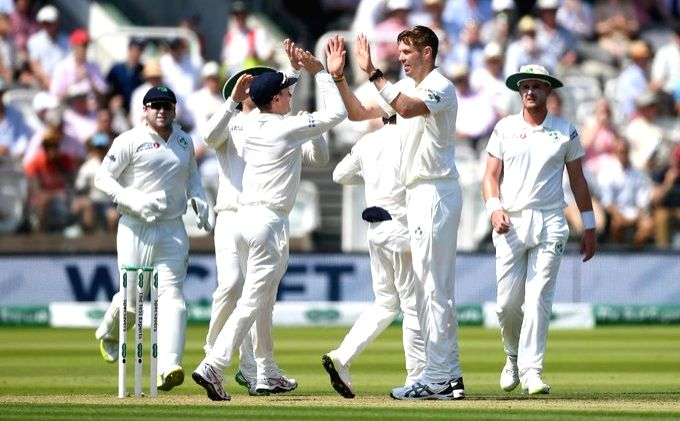 Ireland's Boyd Rankin celebrates fall of Rory Joseph Burns' wicket on day 2 of the only Test between Ireland and England at the Lord's Cricket Stadium in London, England on July 25, 2019.