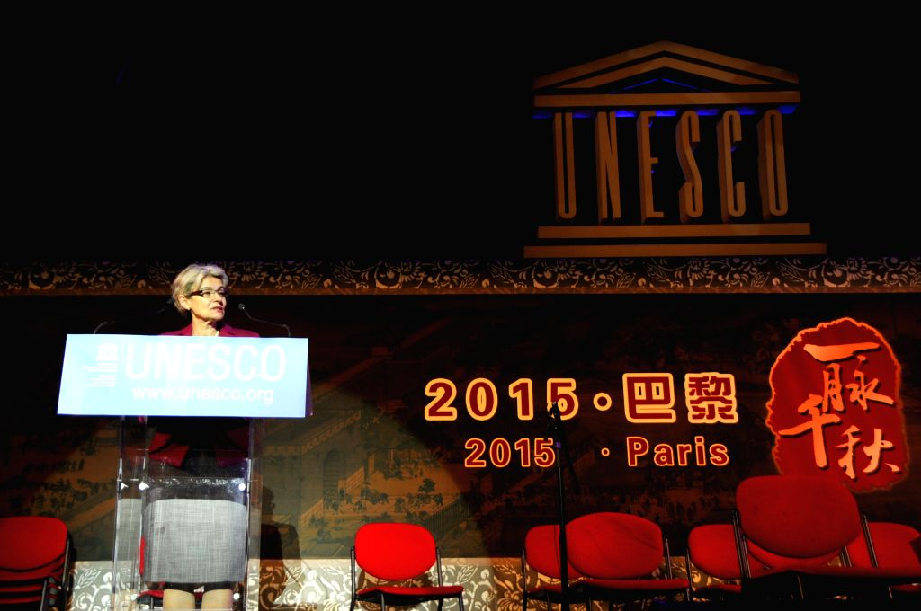Irina Bokova, director-general of the United Nations Educational, Scientific and Cultural Organization (UNESCO), speaks before the opening of a Chinese opera concert ...