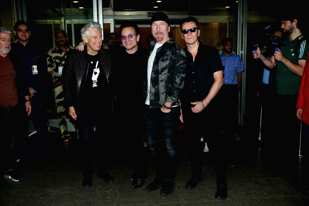 Irish rock band U2 arrives at Chhatrapati Shivaji International Airport ahead for their performance, in Mumbai on Dec 12, 2019.
