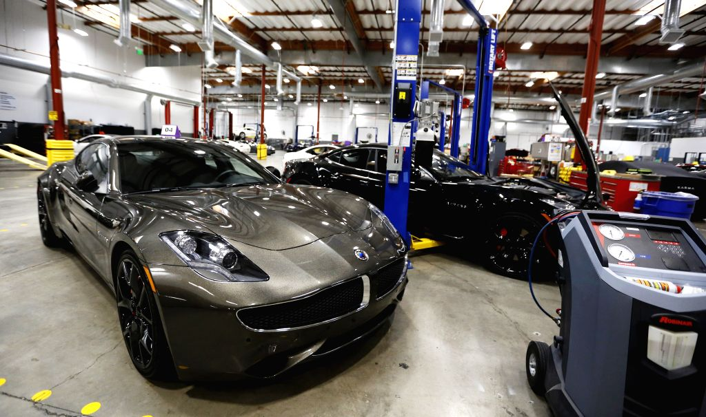 IRVINE, June 28, 2019 (Xinhua) -- Test vehicles are seen at Karma's headquarters in Irvine, California, the United States, June 25, 2019. Chinese-funded electric car producer Karma Automotive launched a new global all-electric product platform on Tue