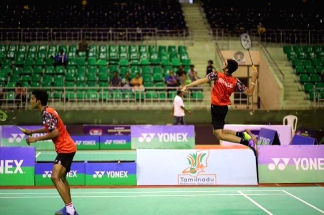 Ishaan Bhatnagar and Vishnu Vardhan in action during Badminton Asia Junior Championships 2019 at the Suzhou Olympic Sports Centre in China on July 25, 2019.