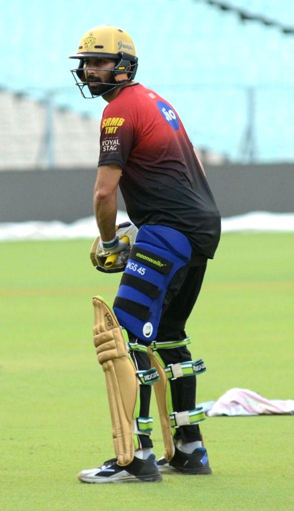 Ishank Jaggi of Kolkata Knight Riders during a practice session, in Kolkata on May 21, 2018.