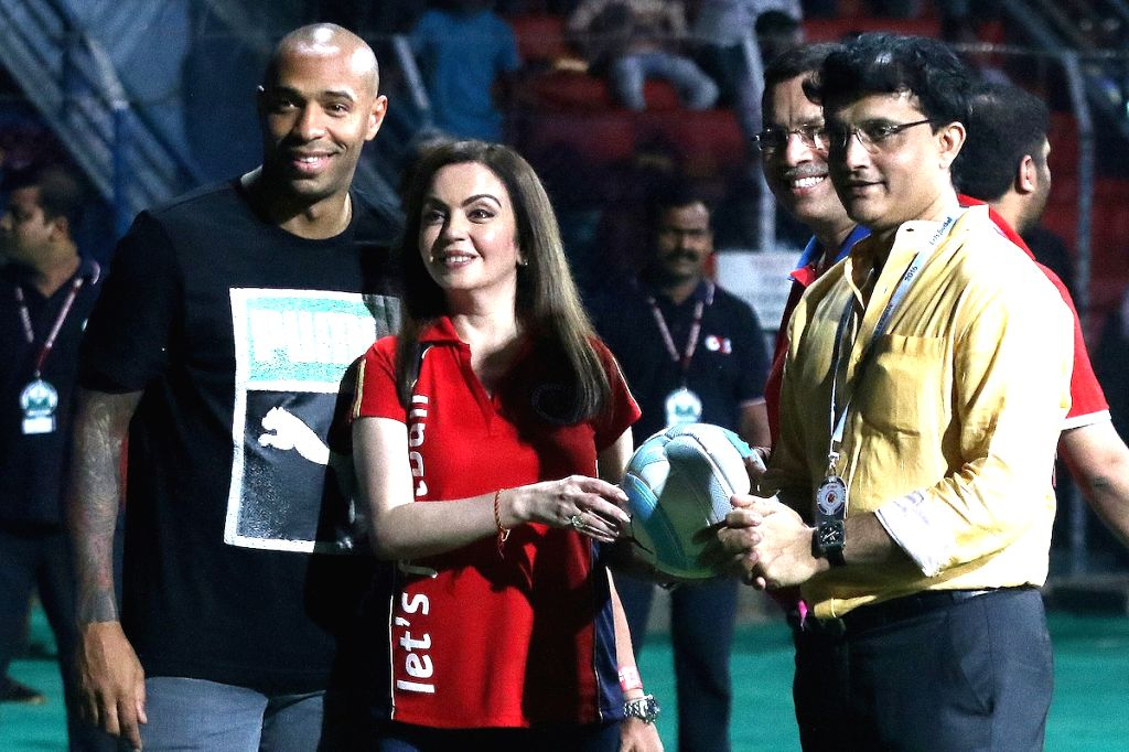 ISL chairman Nita Ambani with former French footballer Thierry Henry , Atlético de Kolkata co-owner Sourav Ganguly during an Indian Super League (ISL) football match between Atletico de ... - Sourav Ganguly and Nita Ambani