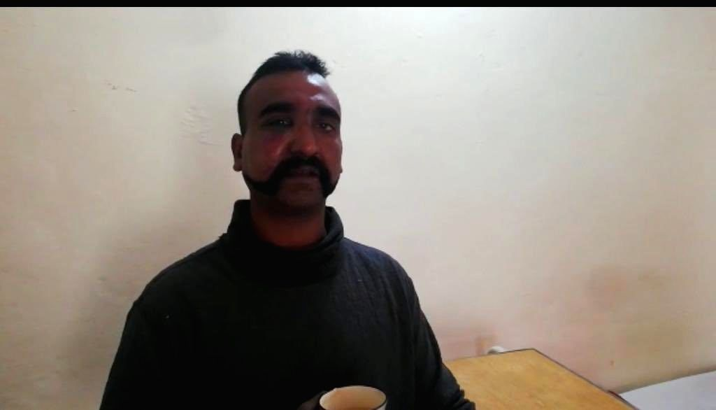 Islamabad: A photograph of Wing Commander Abhinandan Varthamana released by Pakistan's DG ISPR Maj Gen Asif Ghafoor. Pakistan claims to have Wing Commander Varthamana in its custody. (Photo: @OfficialDGISPR/Twitter)
