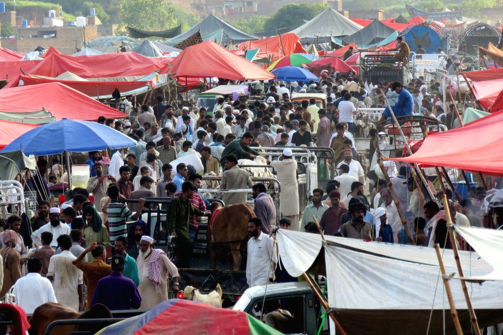 ISLAMABAD, Aug. 11, 2019 - People visit a livestock market on the eve of Eid al-Adha festival in Islamabad, capital of Pakistan, on Aug. 11, 2019.